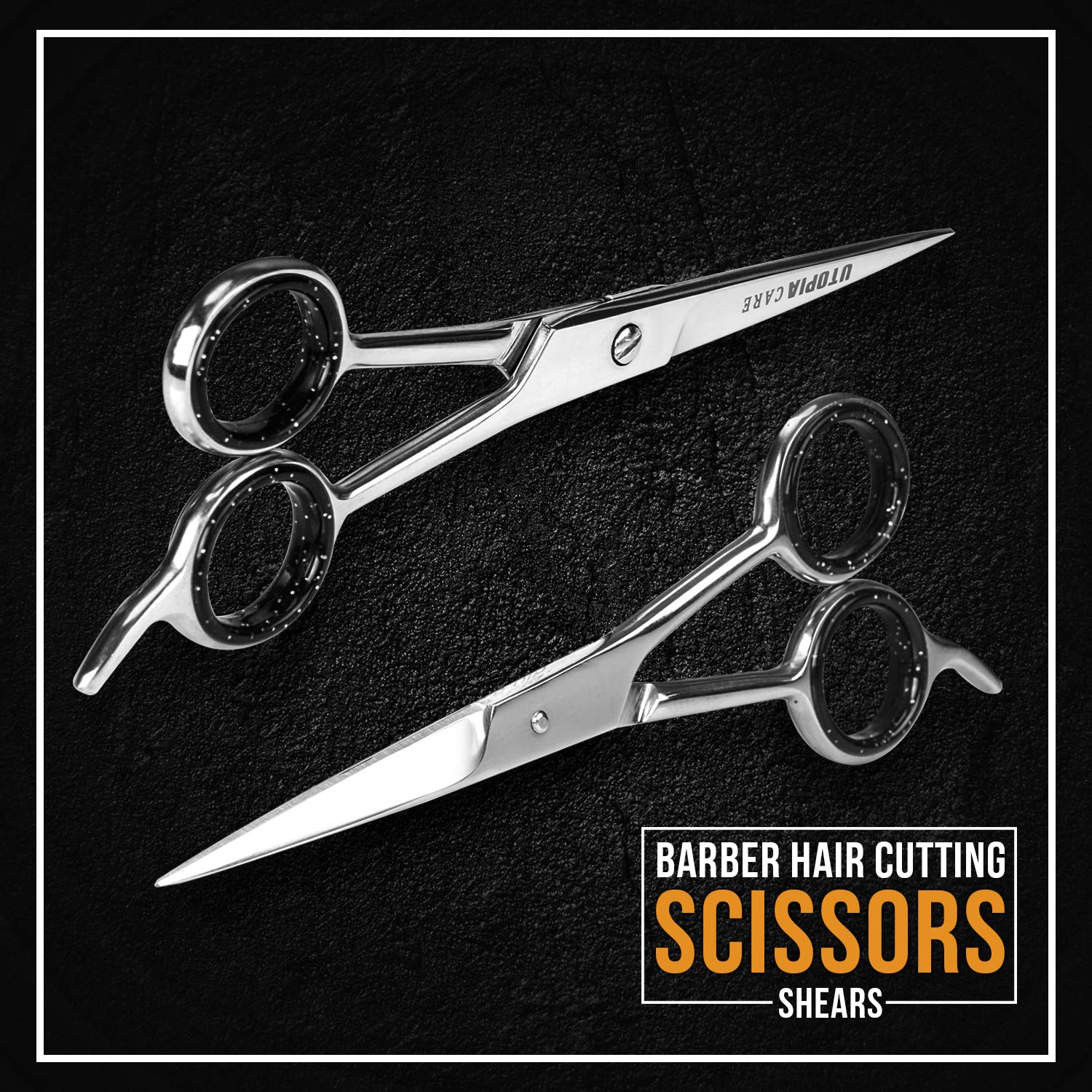Professional Barber Hair Cutting Scissors/Shears (6.5-Inches) - Ice Tempered Stainless Steel Reinforced with Chromium to Resist Tarnish and Rust : Beauty