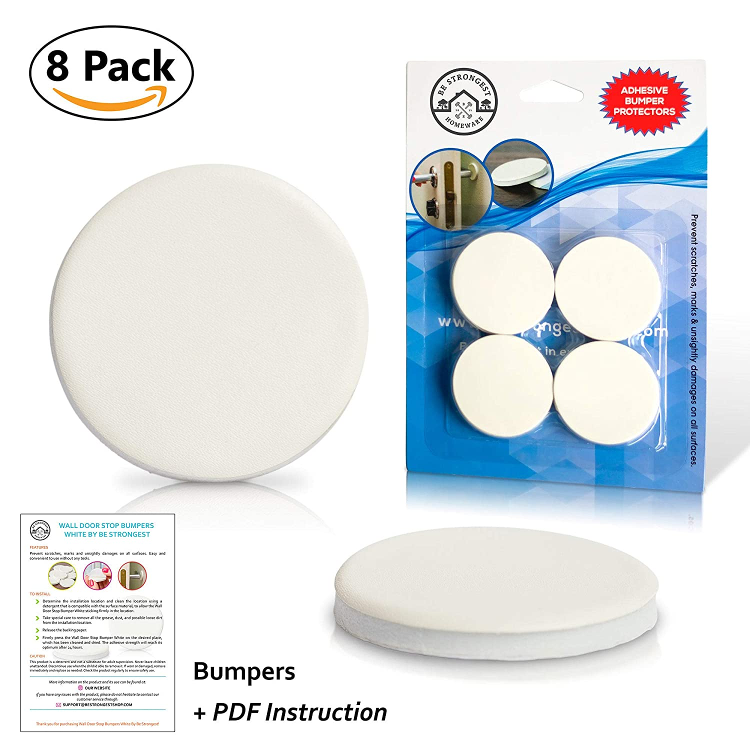 Wall Door Stop Bumpers by Be Strongest - White Soft Rubber Pads, 8 Pack - Self Adhesive Protector - Sound Dampening - Guard Your Wall Against Damage from Your Door Handle Be Strongest shop