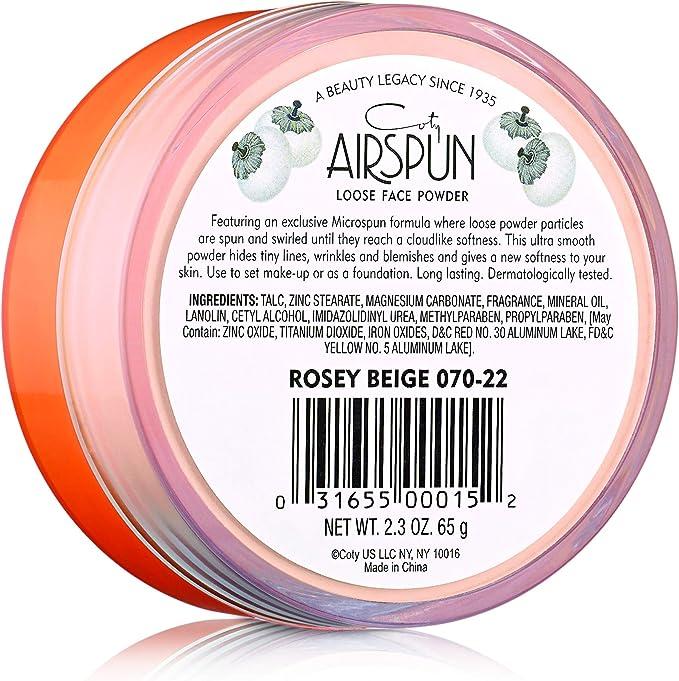 Polvos faciales sueltos COTY Airspun Loose, rosa beige ...