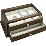 Amazon Basics Wooden Jewelry/Watch Box with Glass Top - 2-Drawer, Walnut