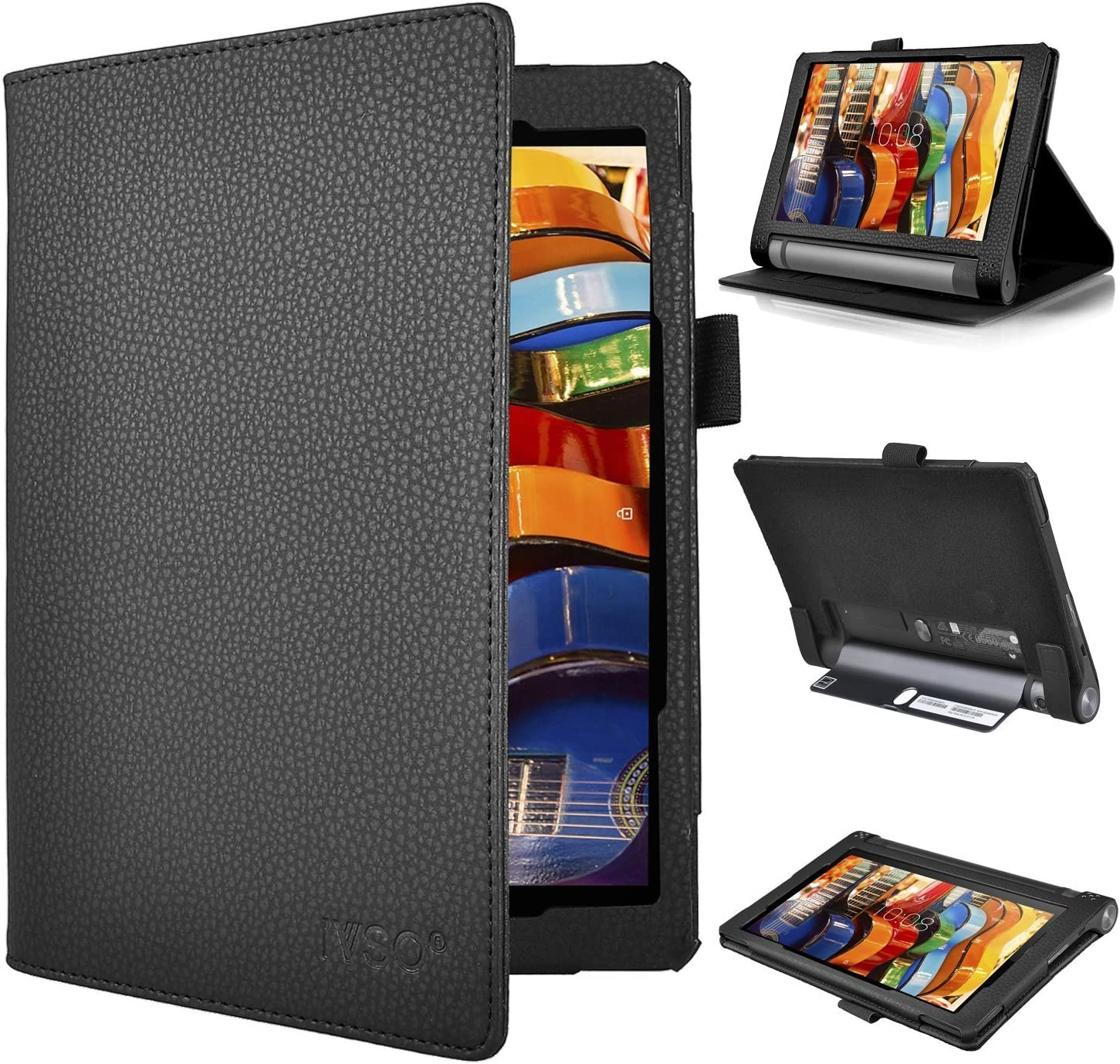 Lenovo YOGA Tab 3 8 case, KuGi ® Multi-Angle Stand Slim-Book PU Leather Cover Case with Hand Strap&Card Holder for Lenovo YOGA Tablet 3 8 inch tablet. ...