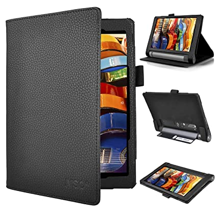 new style 10587 c0749 Lenovo YOGA Tab 3 8 case, KuGi ® Multi-Angle Stand Slim-Book PU Leather  Cover Case with Hand Strap&Card Holder for Lenovo YOGA Tablet 3 8 inch ...