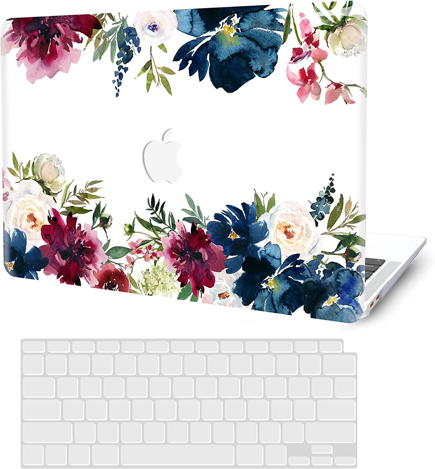 MacBook Air 13 inch Case 2020 2019 2018 Release A2179 A1932, G JGOO MacBook Air 2020 Case, Plastic Hard Shell Case + Keyboard Cover for Apple Mac Air 13.3 with Retina Display & Touch ID, Ink Flower