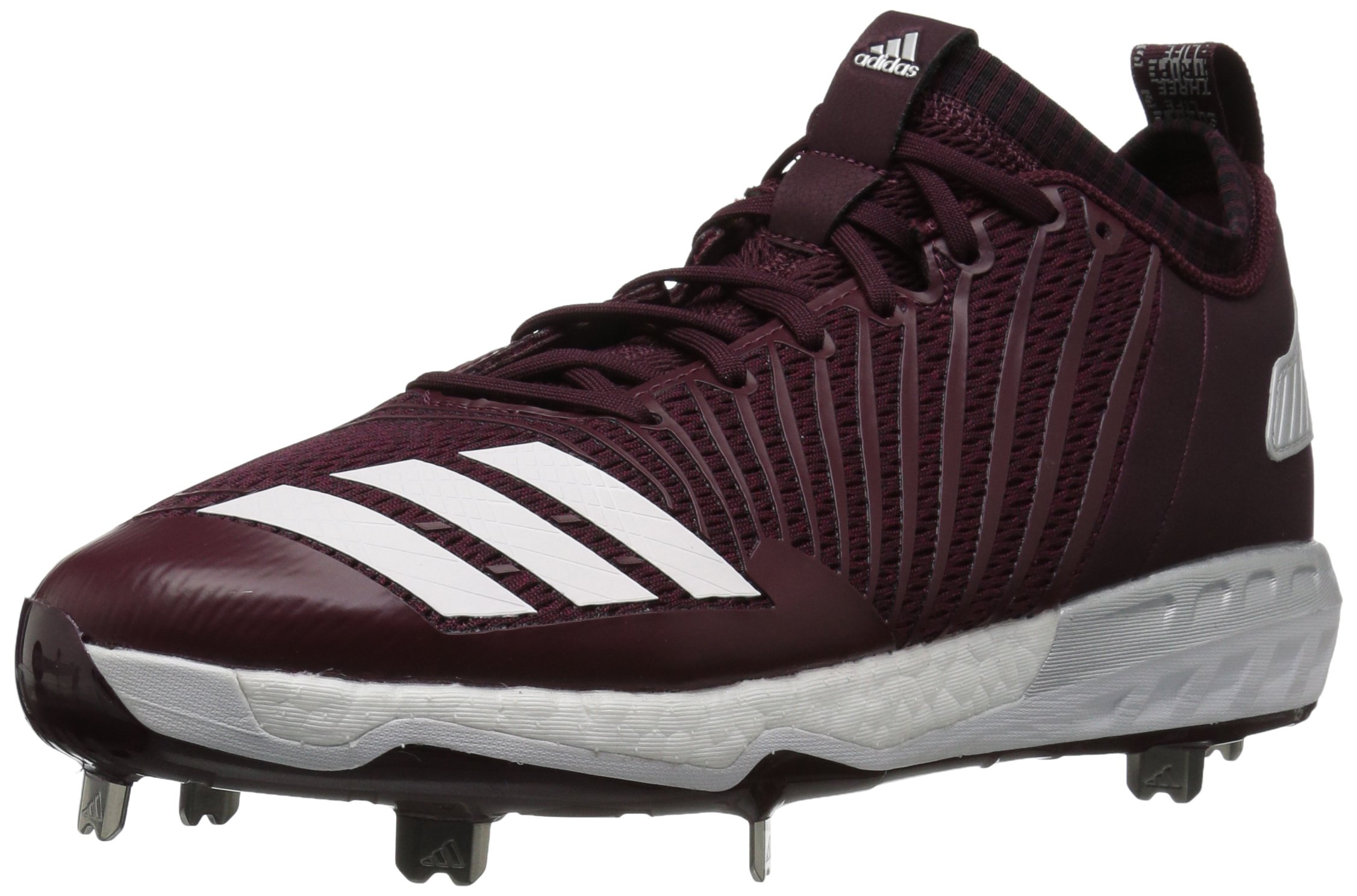adidas Men's Freak X Carbon Mid Baseball Shoe, Maroon/White/Metallic Silver, 7.5 Medium US by adidas (Image #1)