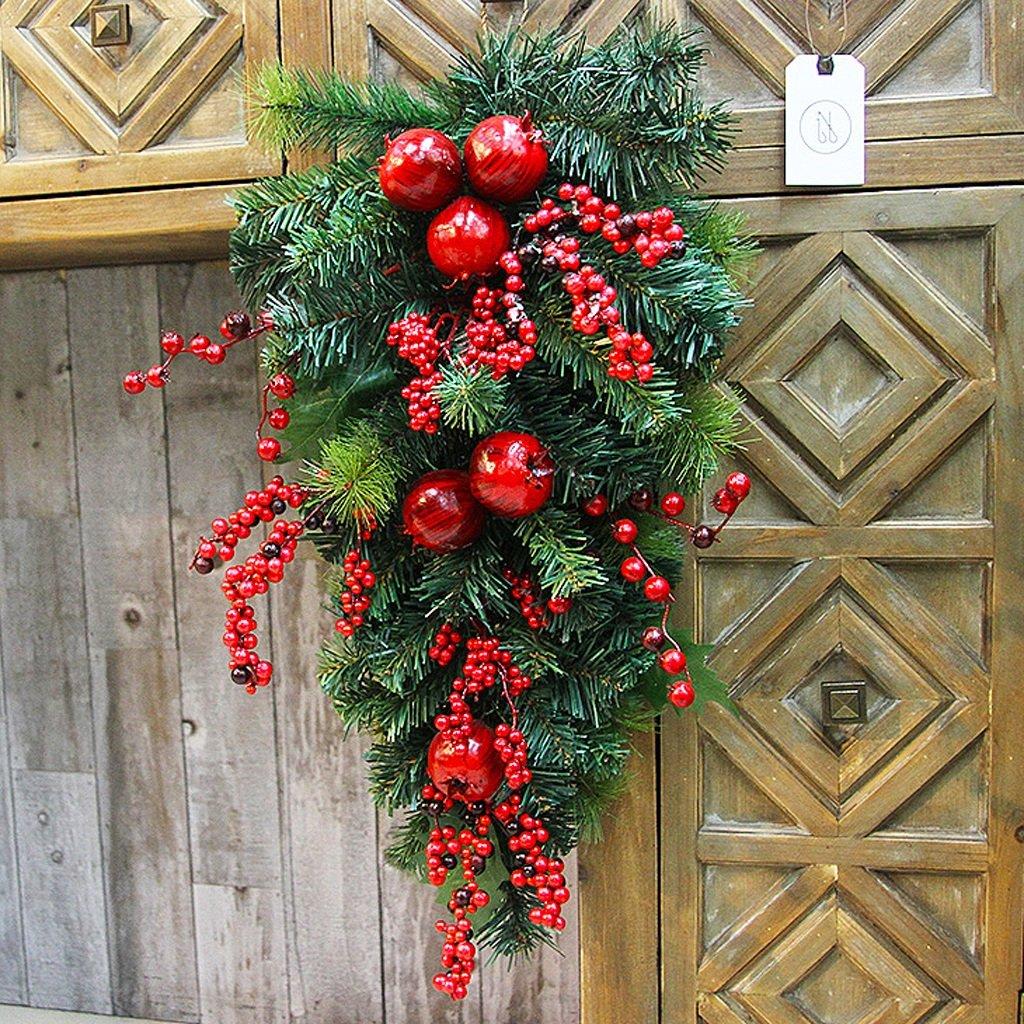 Creative high-end Christmas rattan wreath ornaments Christmas hotel mall layout decoration ( Color : B )