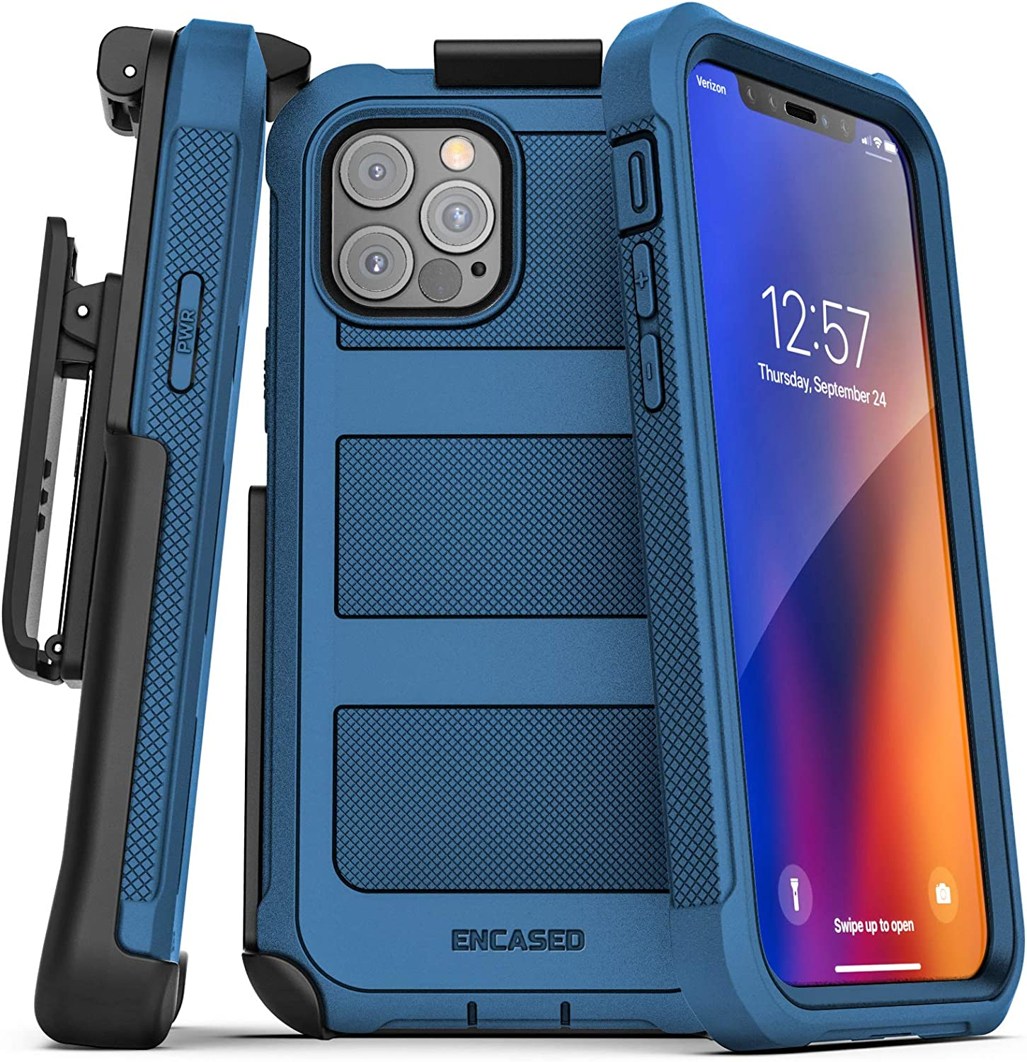 Encased Falcon Armor Compatible with iPhone 12 Pro Case with Screen Protector and Belt Clip Protective Full Body Cover with Built-in Screen Guard and Holster - Blue