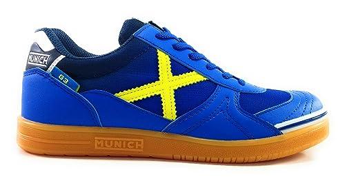 MUNICH G-3 NIÑO Futbol Sala Azul/Amarillo: Amazon.es: Zapatos y complementos
