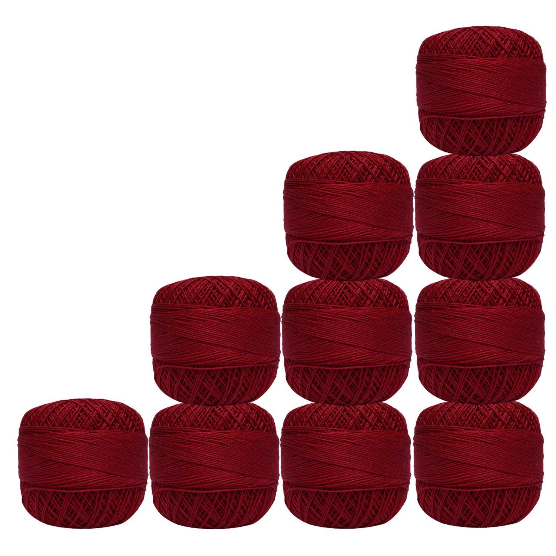 Maroon Cotton Crochet Thread Knitting Mercerized Embroidery 10 Pcs Yarn Cross Stitch Tatting Doilies Skeins Lacey Craft