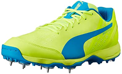 Puma Men s Evospeed Spike 1.4 Safety Yellow and Atomic Blue Cricket Shoes -  9 UK  5fde96600