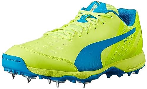Puma Men s Evospeed Spike 1.4 Safety Yellow and Atomic Blue Cricket Shoes -  9 UK  dc9c6f77b