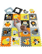 Meiqicool Puzzle Play Mat with Fence | Baby Crawling Mat | Toddler Foam Playmat Set | Infant Play Gym Mat | Floor Mats for Kids, Cute Cartoon Car Plane,011011