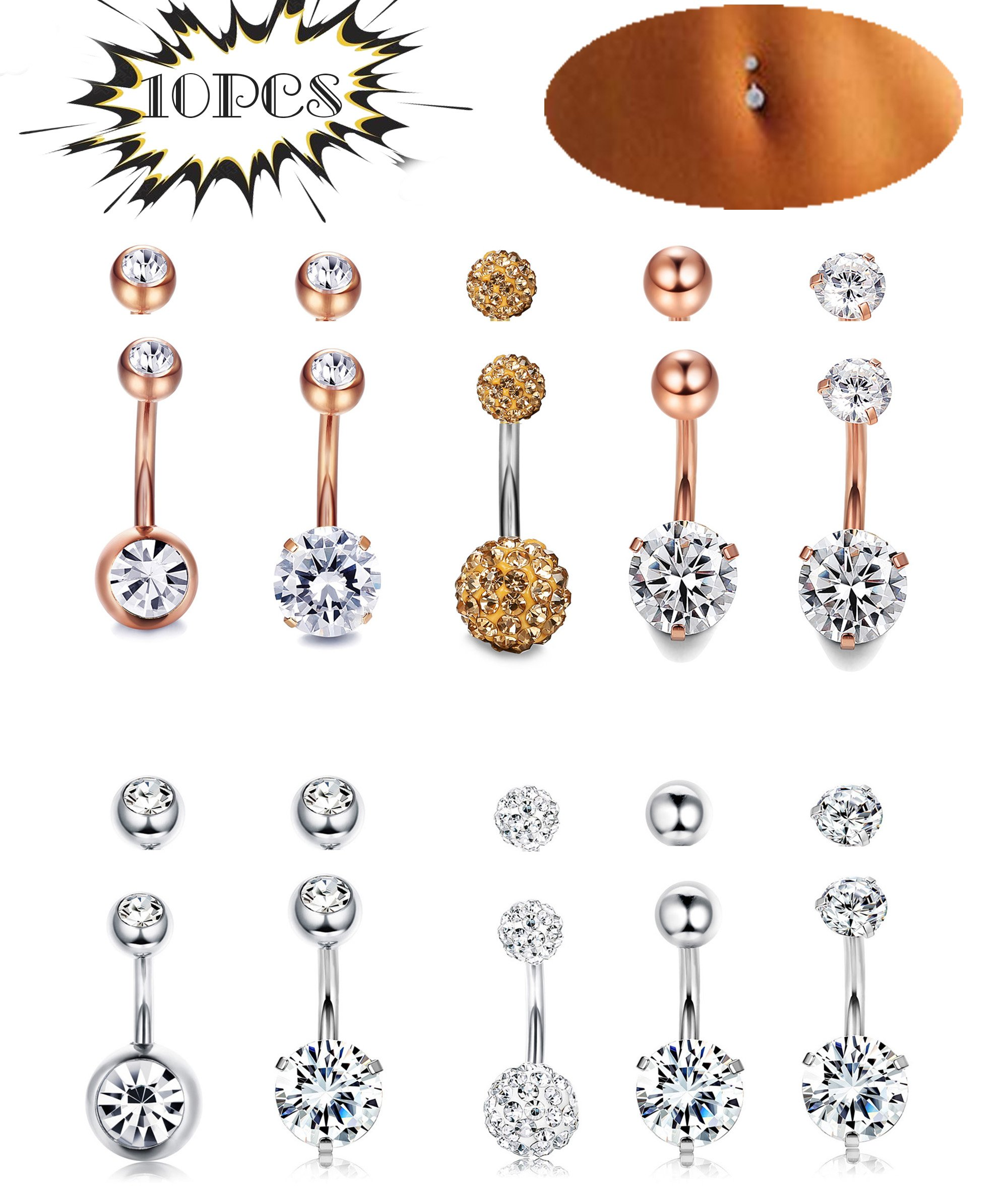LOYALLOOK 5-6pcs 14G Stainless Steel Belly Button Rings for Women Girls Navel Rings Crystal CZ Body Piercing (C:10PCS Rose silver)