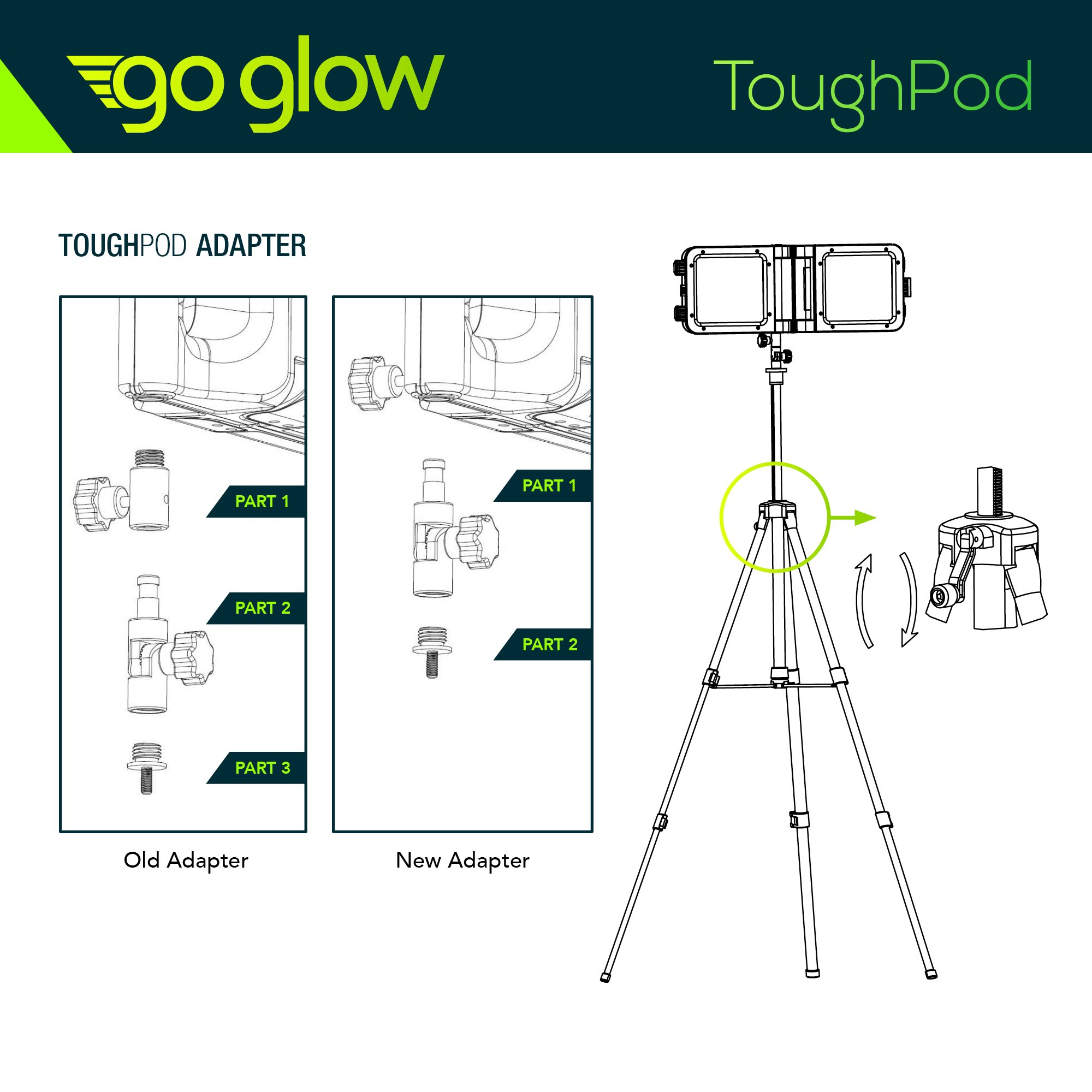 GoGlow LiteBook Bundle - Upgraded 2.0 TRIPOD INCLUDED - 30W Portable Rechargeable Day Light White Light (5000-5500k) Work Light, Camping, Garage or Auto Repair, Emergency (Green) by Enpower (Image #7)
