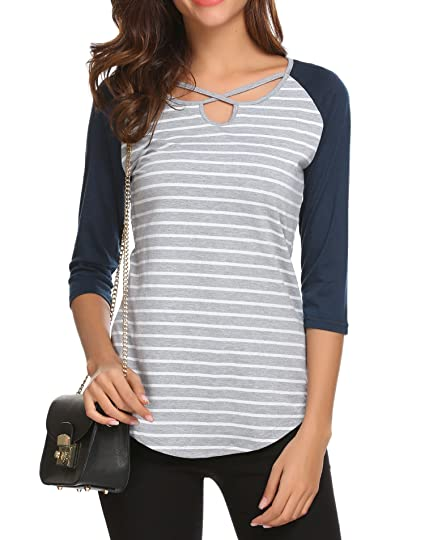 bc2e1e06c06 Zeagoo Womens Casual V Neck Lace Up 3 4 Sleeve Raglan Shirts Block Striped  Shirts Top