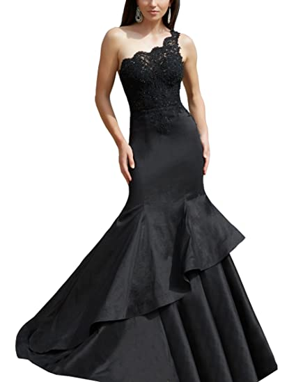 Black One Shoulder Mermaid Evening Dress Beaded Ruffle Dress Long Prom Dress
