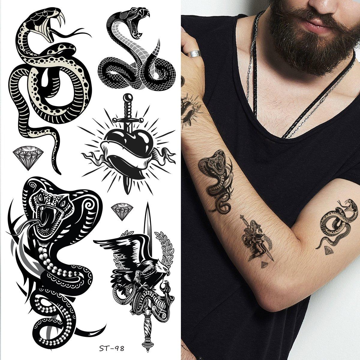 eeef49e3af730 Amazon.com : Supperb Mix Tribal Temporary Tattoos Tribal Snake II (Set of  2) : Beauty