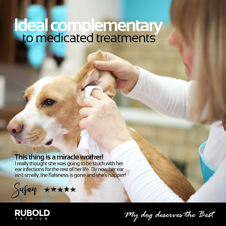 Rubold Limpiador de Oídos Completamente Natural para Perros y Gatos - Elimina el Olor de la Cera de Oído Ácaros de la Suciedad Olor Bacterias Hongos e ...