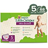 Happy Little Camper Natural Diapers, Size 5 (+27lbs) - Disposable Cotton Baby Diapers with Aloe, Ultra-Absorbent, Hypoallerge