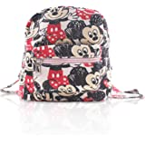 Finex White Mickey Mouse and Minnie Mouse Mini Small Canvas Backpack All Over Print for School