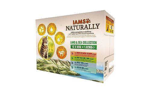 IAMS Naturally Land & Sea Collection in Sauce – Vollwertiges Nassfutter für erwachsene Katzen von 1-6 Jahre in verschiedenen