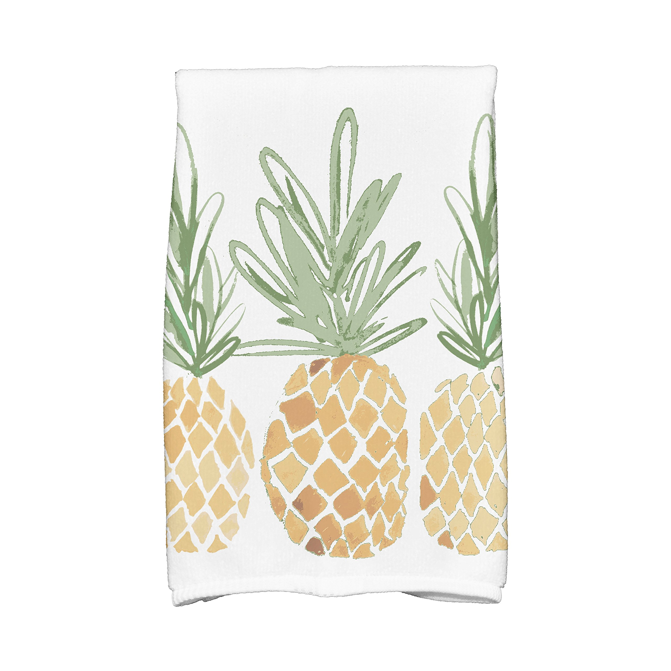 E by design KTG804YE6 3 Pineapples, Geometric Print Kitchen Towels, 16 x 25, Gold