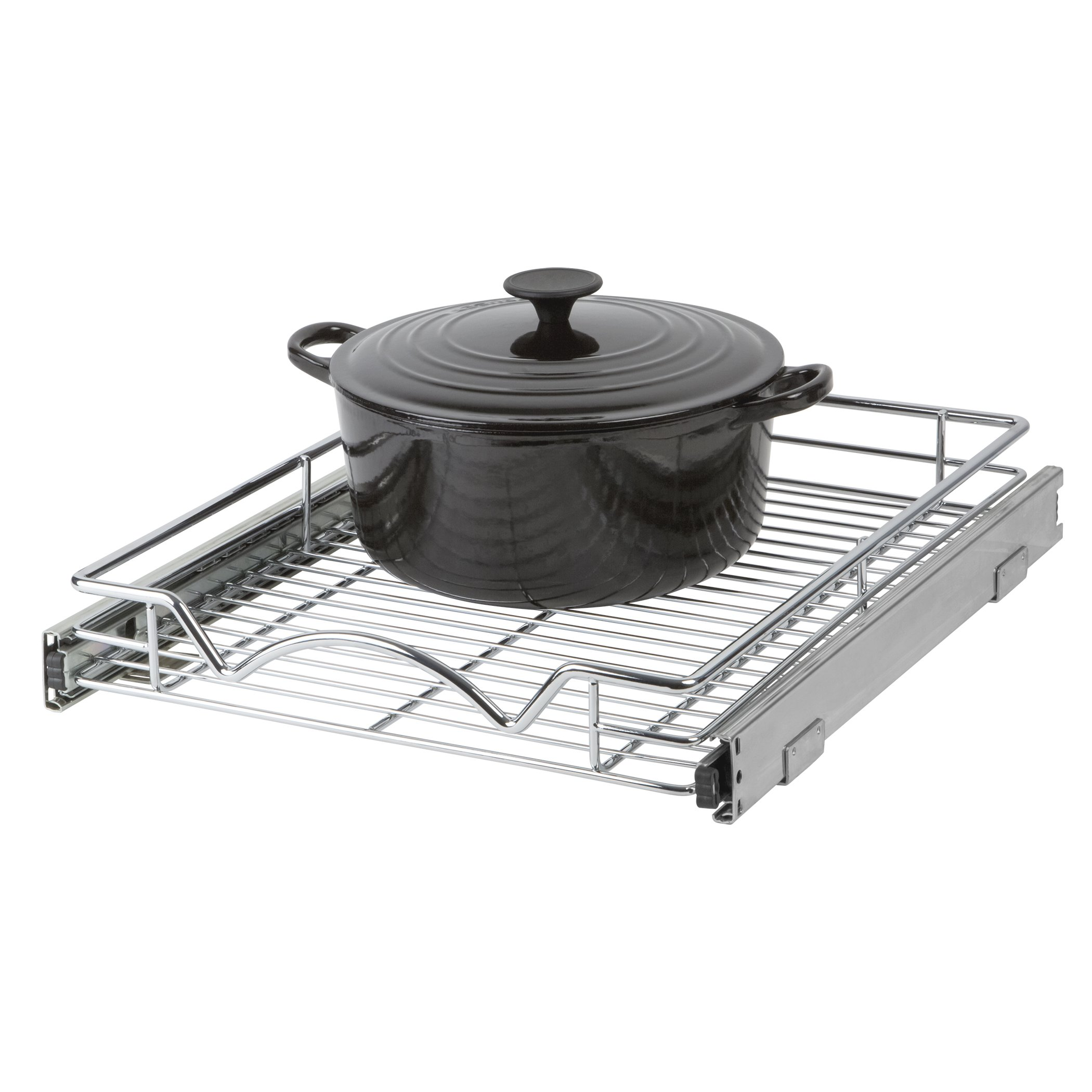 Slide Out Cabinet Organizer - Chrome 14x18'' Slide Out Kitchen Cabinet Organizer and Pull Out Under Cabinet Pots & Pans Sliding Shelf