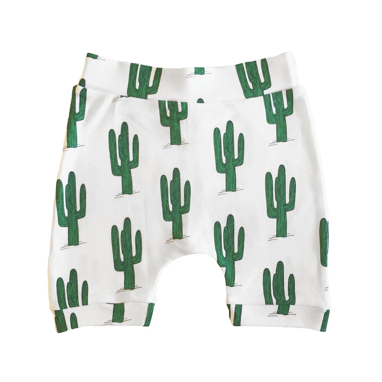 The Spunky Stork Green Cactus Organic Cotton Baby Toddler Harem Cropped Pants