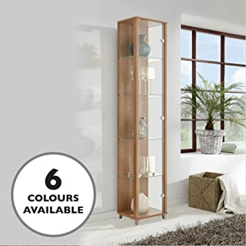 HOME Single Glass Display Cabinet Oak Effect With 4 Moveable Glass Shelves  U0026 Spotlight