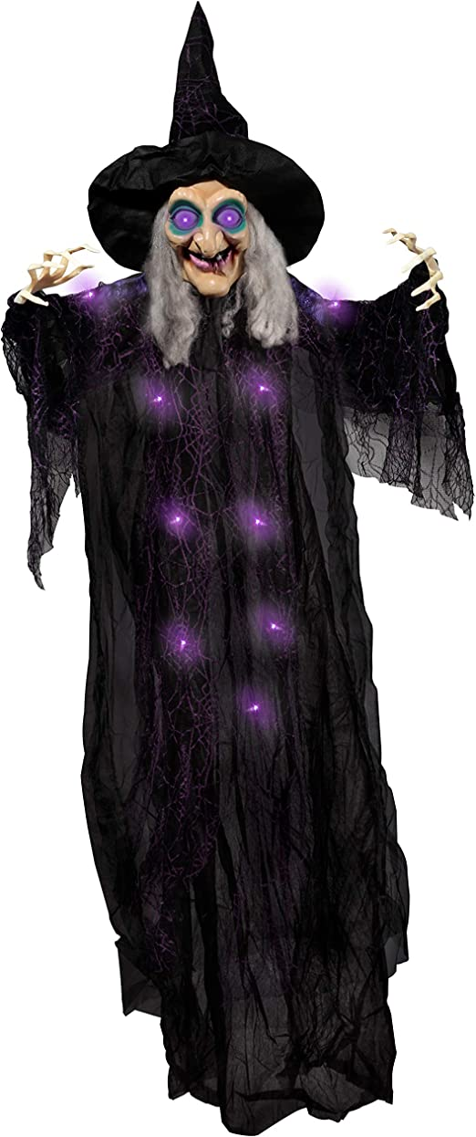 """Amazon.com: 72"""" Hanging Animated Talking Witch Decoration (Green) with Light-up Eyes and sound activation function for Halloween Haunted House Prop Décor, Halloween Hanging Decorations, Outdoor/Indoor, Lawn Decor: Toys & Games"""