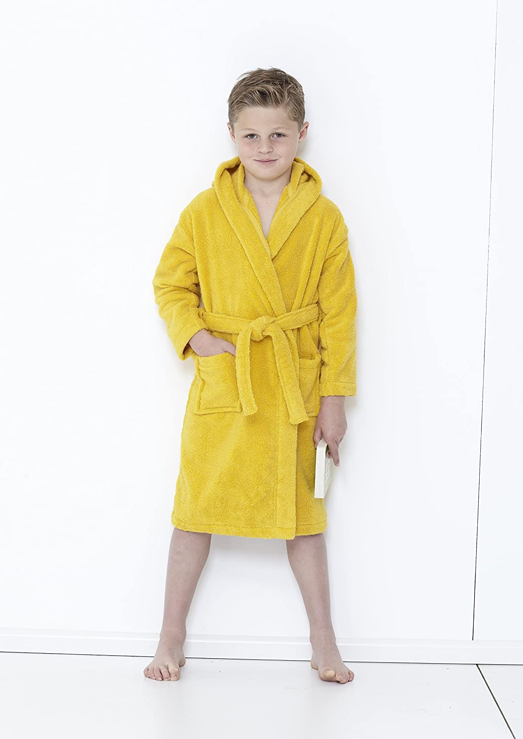 Great knot Kids Zero Twist Boys hooded bathrobes - 100% cotton (9/10 Years, Mustard)