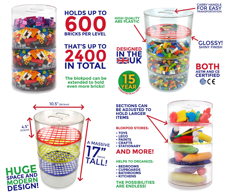 BLOKPOD Toy Lego Storage Bin Organizer Multipurpose Stackable