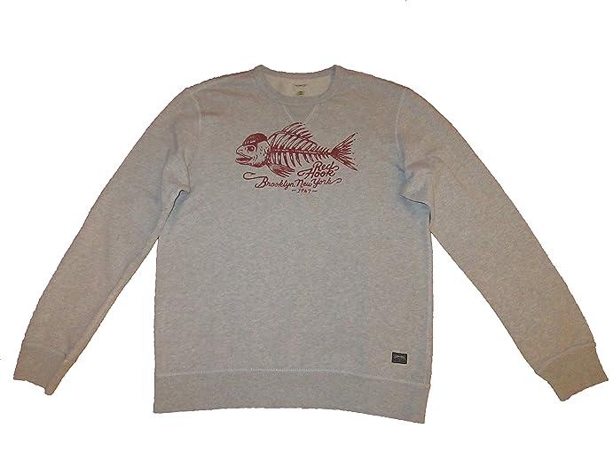 Denim and Supply Ralph Lauren Mens Red Hook Brooklyn Graphic Crewneck  Sweatshirt Grey (Large)