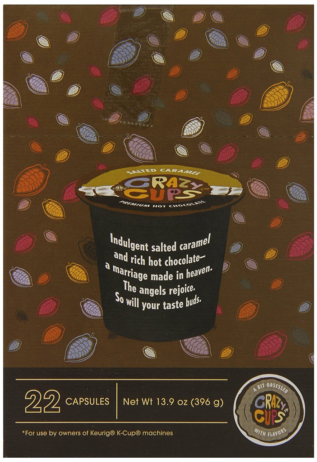 Crazy Cups Seasonal Hot Chocolate, Salted Caramel Fudge, Single Serve Cups for Keurig K Cup Brewers,13.9 oz, 22 Count: Amazon.com: Grocery & Gourmet Food