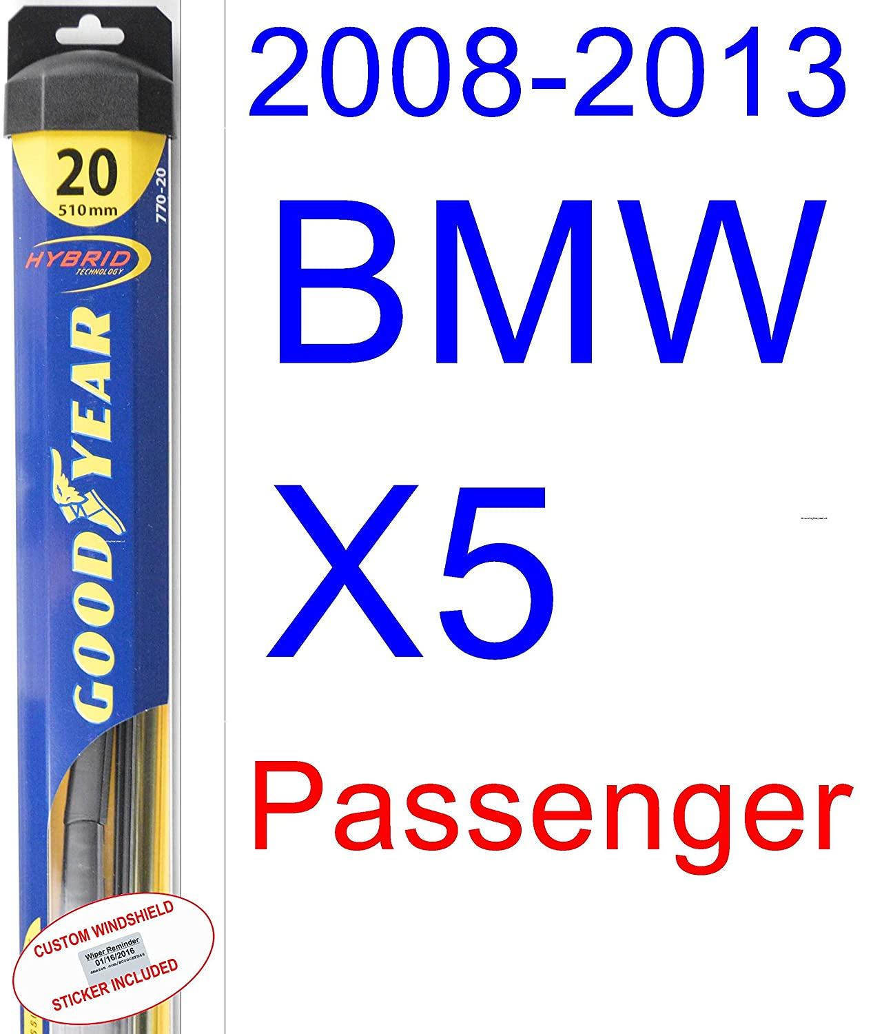 Amazon.com: 2008-2013 BMW X5 Wiper Blade (Passenger) (Goodyear Wiper Blades-Hybrid) (2009,2010,2011,2012): Automotive