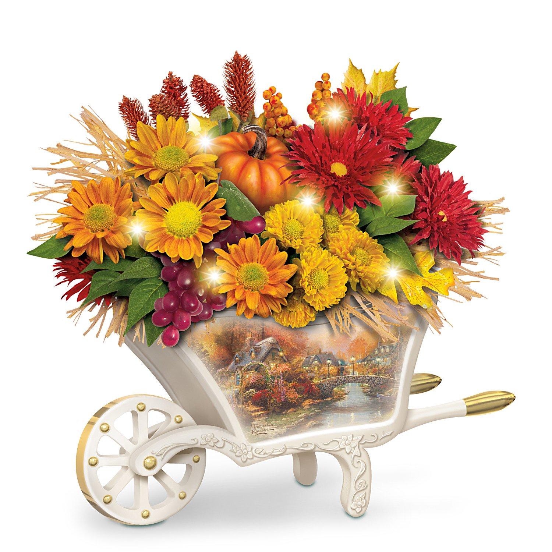 Thomas Kinkade Lighted Autumn Floral Table Centerpiece by The Bradford Exchange
