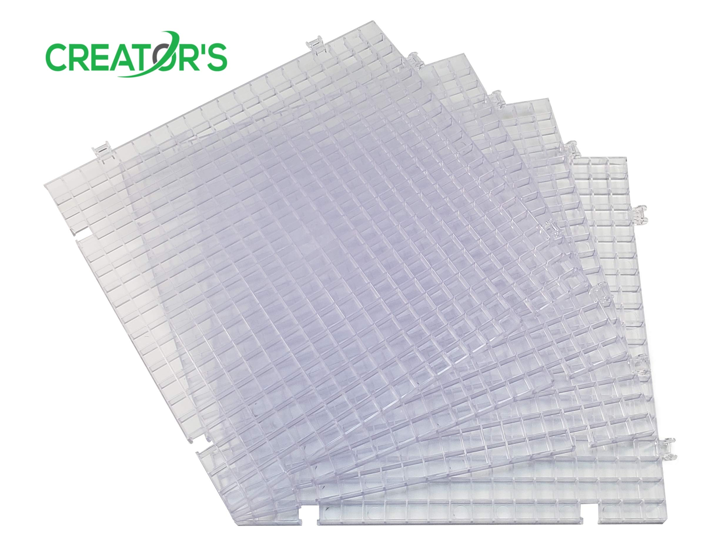 Creator's Waffle Grid 4-Pack - Solid Bottom Translucent/Clear Modular Surface - Glass Cutting, Small Parts, Liquid Containment, Grow Room, Etc. - For Home, Office, Shop - Works With Creator's Products by Creator's