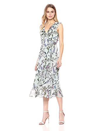 41a3f2d87d0 Donna Morgan Women s Printed Chiffon Wrap Dress at Amazon Women s Clothing  store