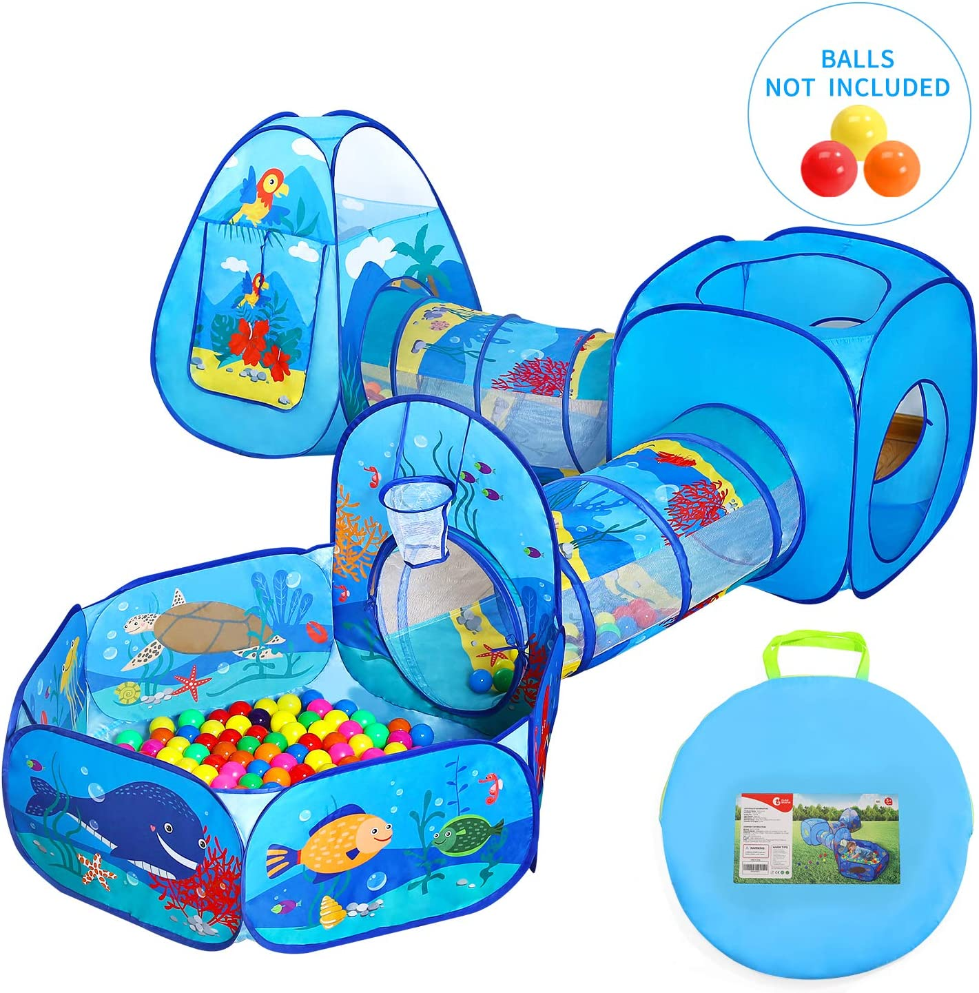 Kids Playhouse Playground and Backyard Playsets for Baby Boys and Girls CUTE STONE Ball Pit Play Tent and Tunnels for Toddlers Indoor and Outdoor Balls Not Included