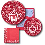 Christmas Holiday Manger Party Paper Plates and Napkins Bundle - Party Pack Set Includes - Disposable Joy To The World Dinnerware Plates - Dessert Plates - Napkins and Family Recipe Card