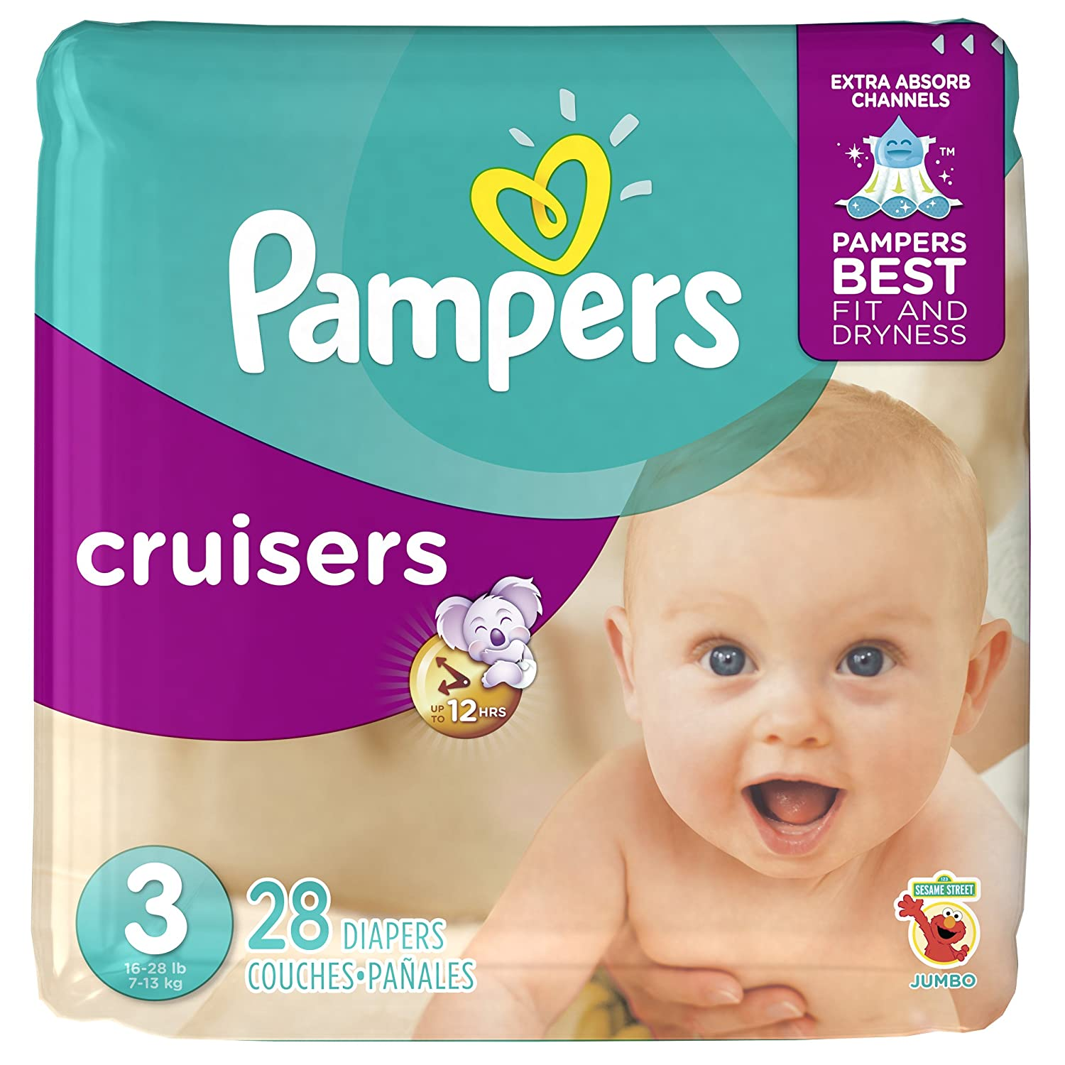 Pampers Cruisers Diapers Size 3, 28 Count