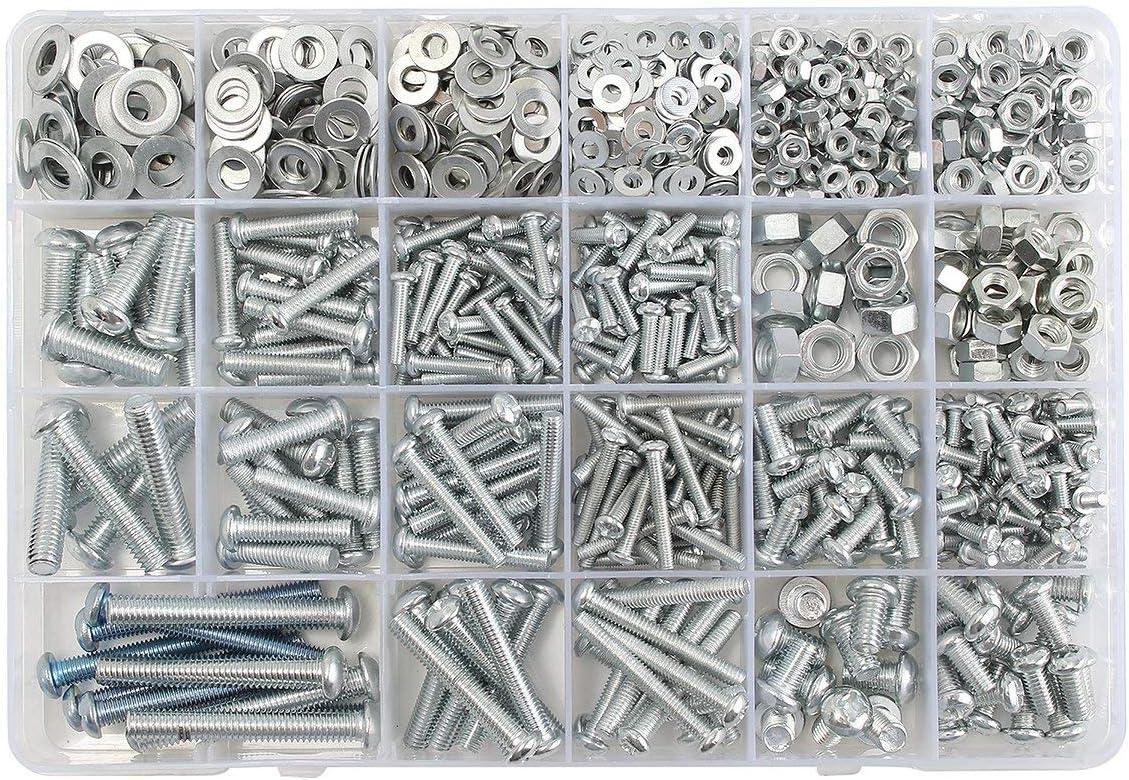 YF-CHEN Screws M3 M4 M5 M6 Stainless Steel Phillips Round Head Screws Nuts Flat Washers Assortment Kit 900g Accessories