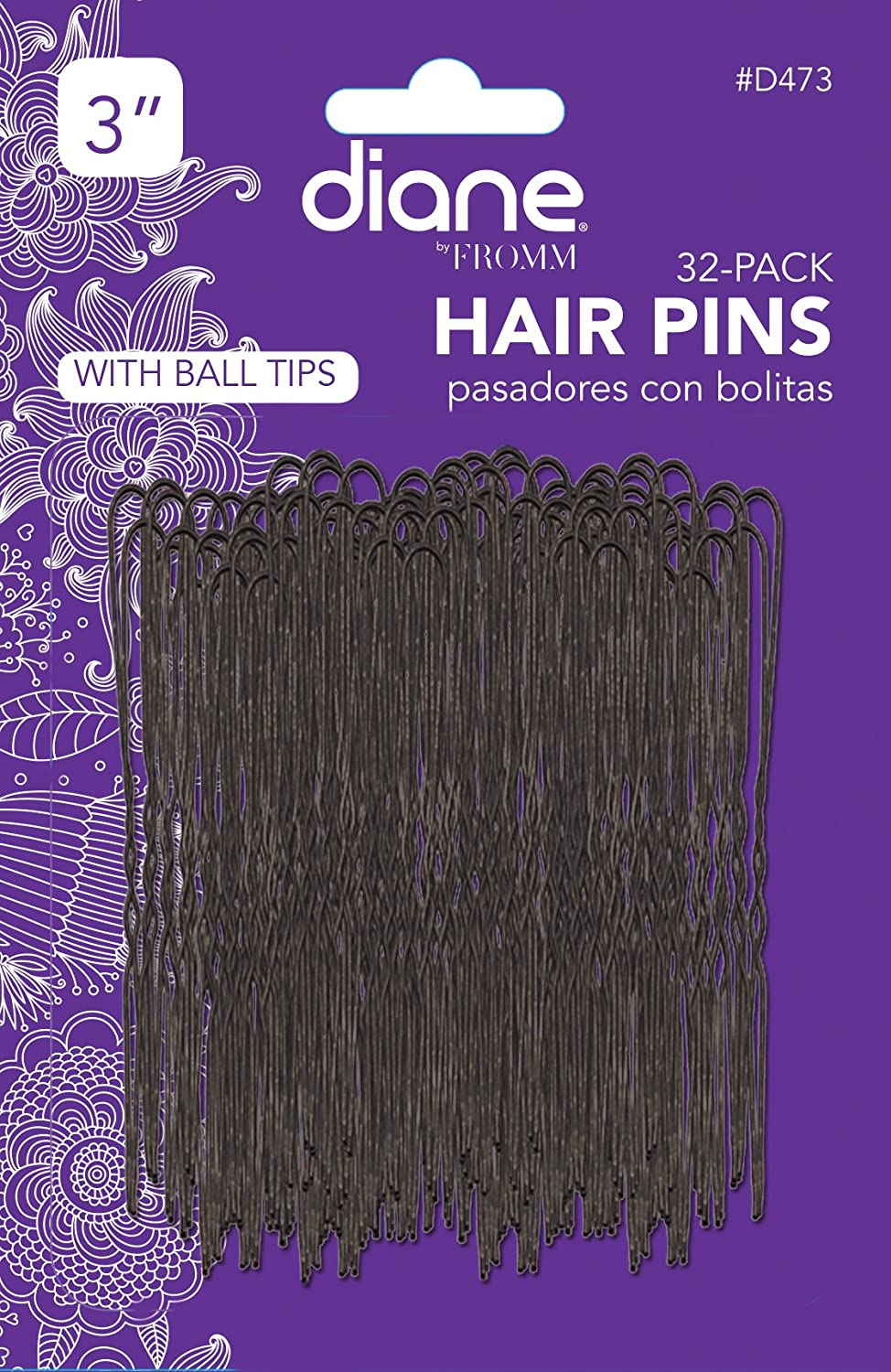 Fromm International Diane 3-Inch Hair Pins, Black, 32 Per Card D473