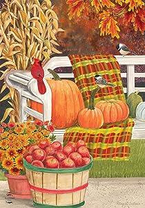 Briarwood Lane Autumn Picnic Scene Garden Flag Fall Apple Basket 12.5
