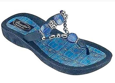 cbd17635bf983f Grandco Denim Beaded Womens Thong Flip Flop Sandal Blue 6