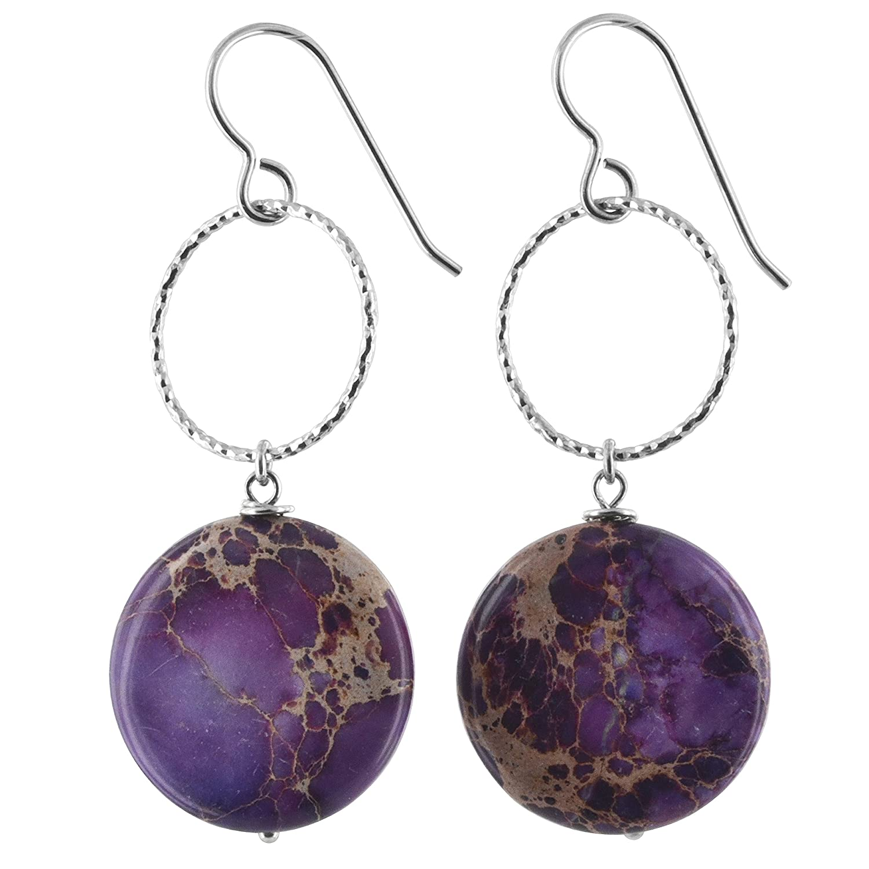 ASHANTI Lilac Jasper Natural Gemstone Sterling Silver Handmade Earrings