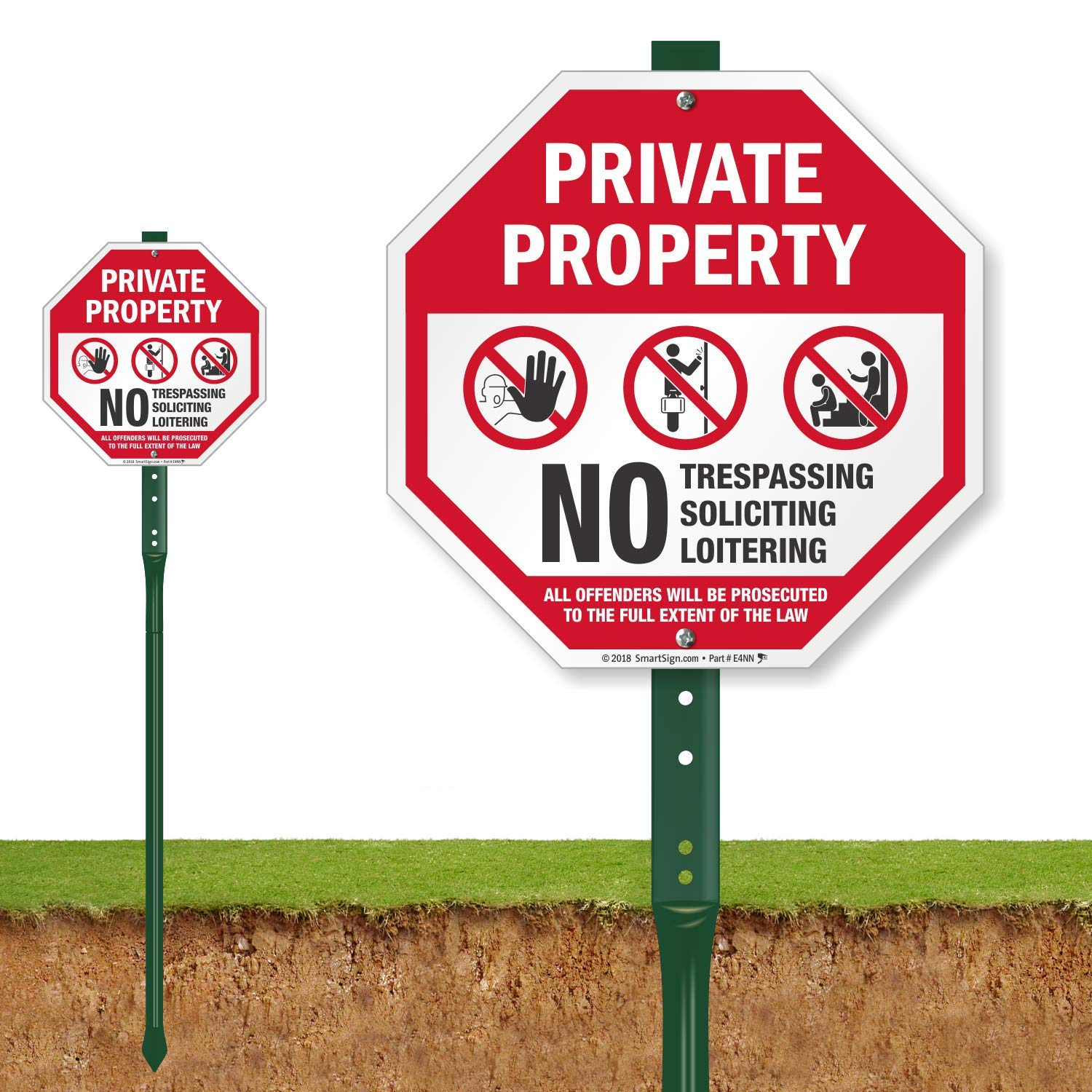 SmartSign''Private Property - No Trespassing, No Soliciting, No Loitering'' Sign for Lawn | 10'' Octagon Aluminum Sign with 3' Stake [New]