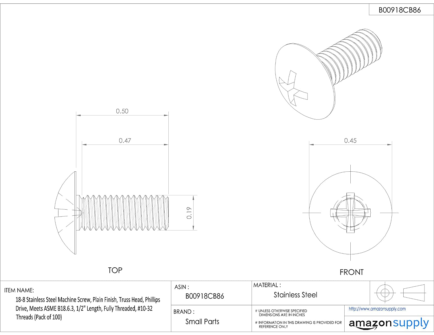 #10-32 UNF Threads Fully Threaded Pack of 100 Phillips Drive Meets ASME B18.6.3 1//2 Length Plain Finish Truss Head 18-8 Stainless Steel Machine Screw