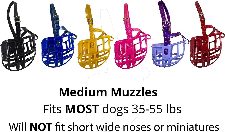 Medium, Black Birdwell Enterprises Made in The USA - Plastic Dog Muzzle with Adjustable Plastic Coated Nylon Headstall