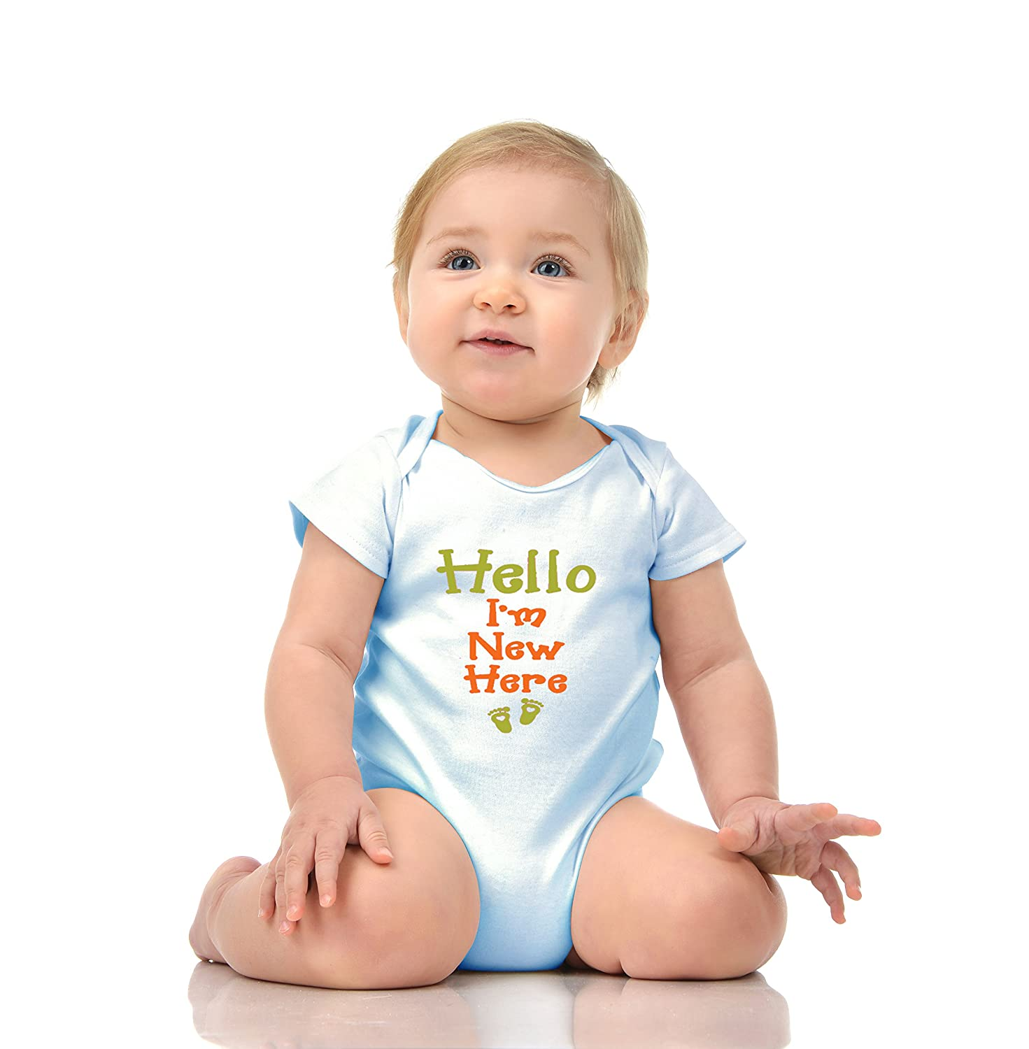 Funny New Baby Born Romper Onesie Unisex Warpped and Protected with A Clear Poly Bag I AM New HERE