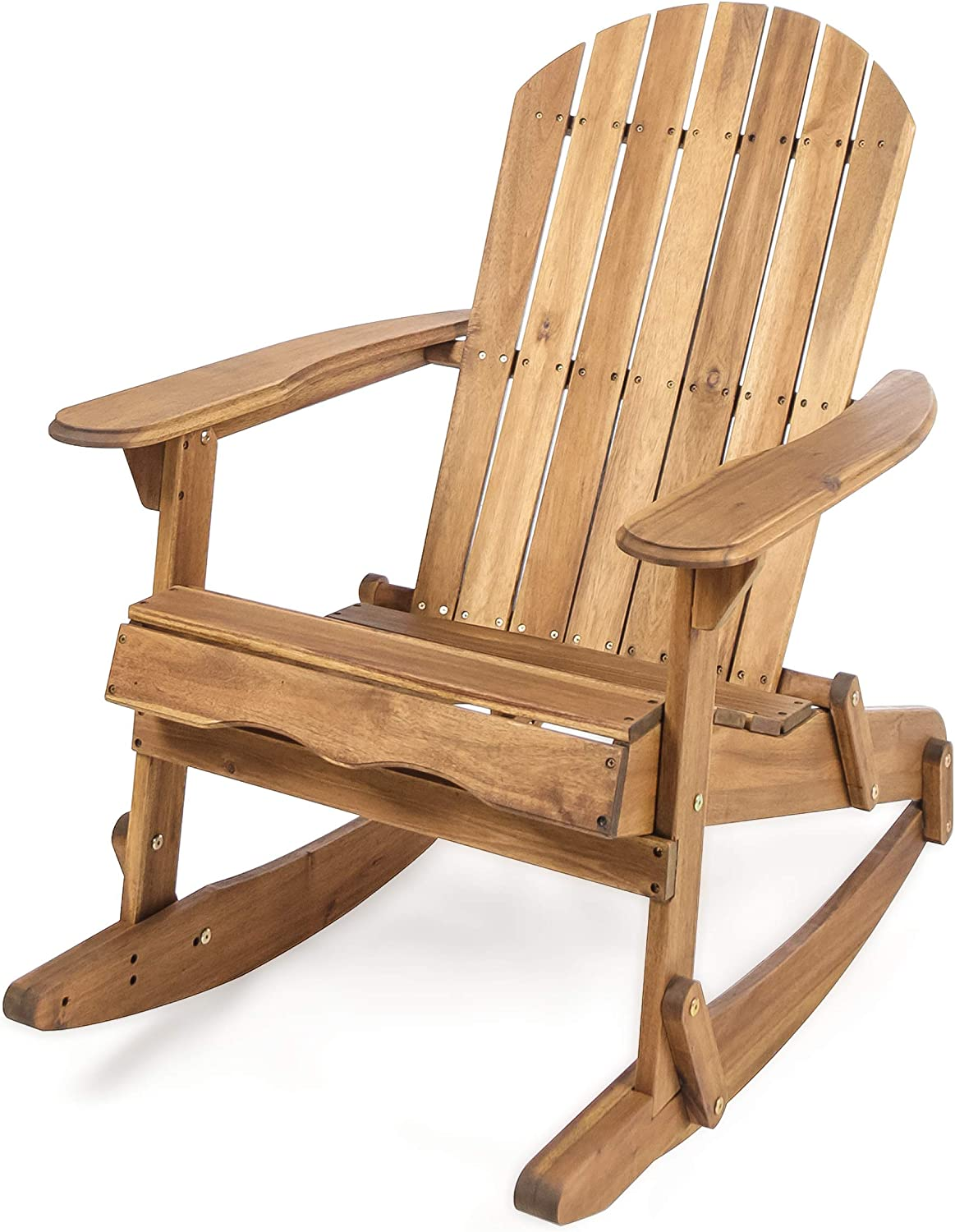 Christopher Knight Home 304034 Muriel Outdoor Natural Finish Acacia Wood Adirondack Rocking Chair, Stained